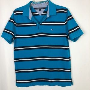 Vintage Tommy Hilfiger Blue Striped Polo Shirt